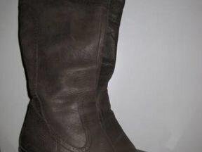 Сапоги кожаные демисезонные серо-коричневого цвета