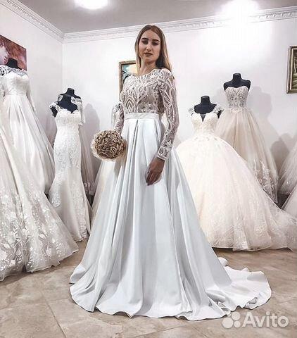 7377c893ec0 Свадебное платье со шлейфом атлас купить в Ростовской области на ...