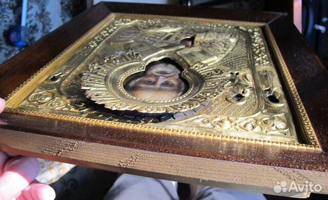 Икона святого Николы Чудотворца, толстая латунь