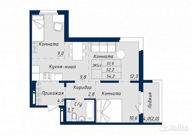 2-к квартира, 52 м², 6/18 эт. 89619858358 купить 2