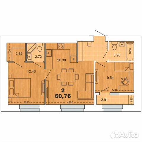 3-к квартира, 60.8 м², 16/16 эт.