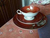 Чашка чайная с блюдцем и десертной тарелкой