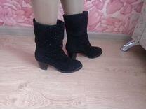 Замшевые модельные сапоги с натуральным мехом — Одежда, обувь, аксессуары в Новосибирске