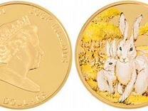 Золотая монета 2 зайца 50 долларов о-ва Кука