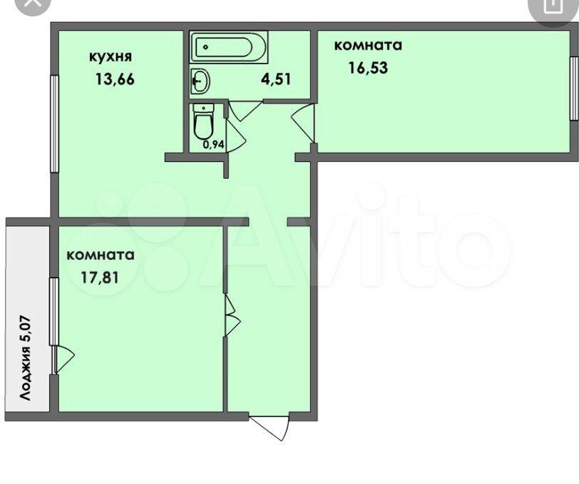 2-к квартира, 65 м², 6/9 эт.
