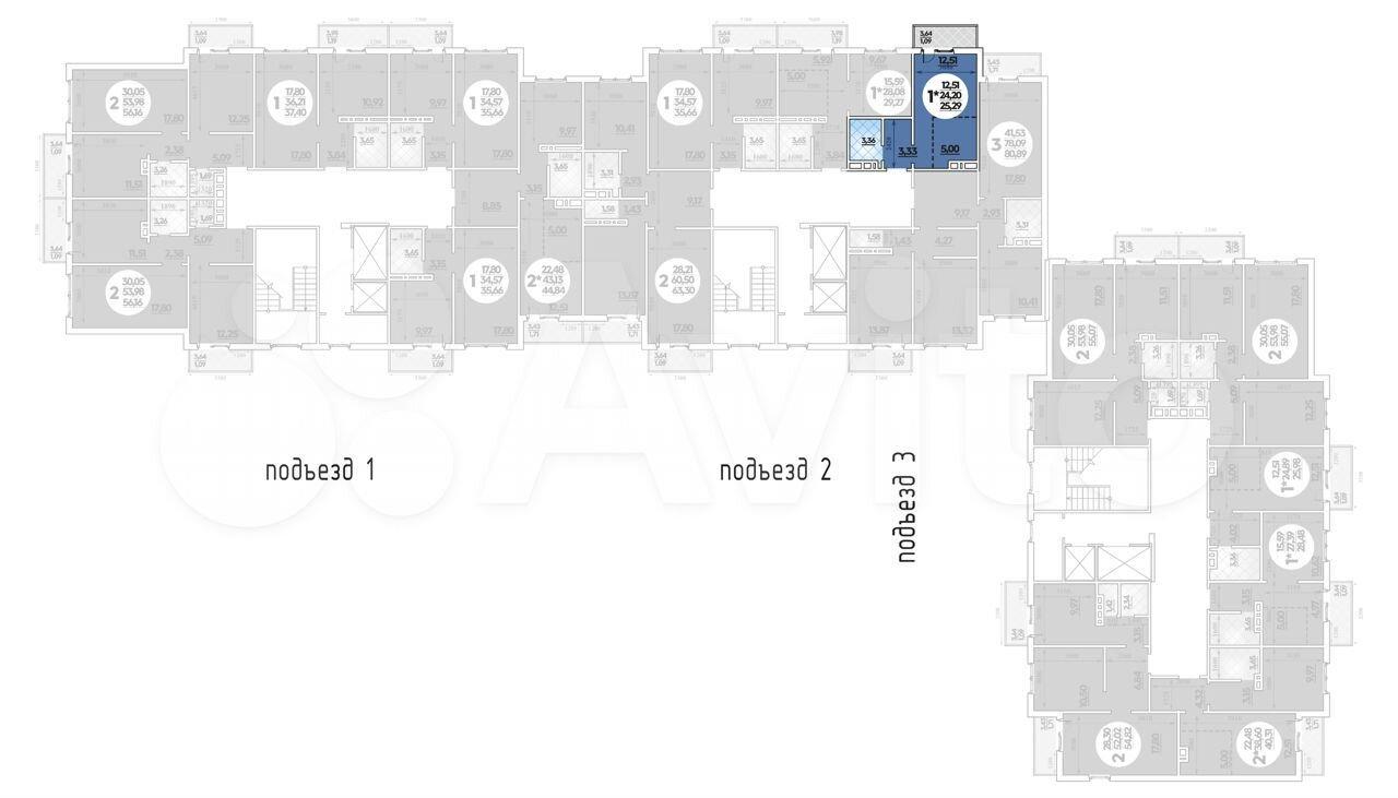 Квартира-студия, 25.3 м², 9/14 эт.  88613258698 купить 1